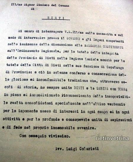 Comune di Rieti 1 - Interrogazione Luigi Colarieti