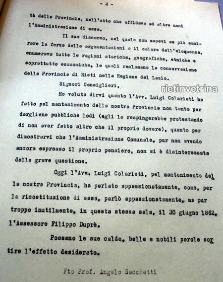 Comune di Rieti 4 - Sacchetti Sassetti interrogazione Colarieti