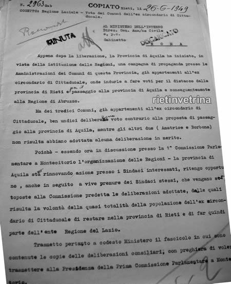 Provincia di Rieti 5 - Prefetto, tramissione deliberi comuni al Ministero