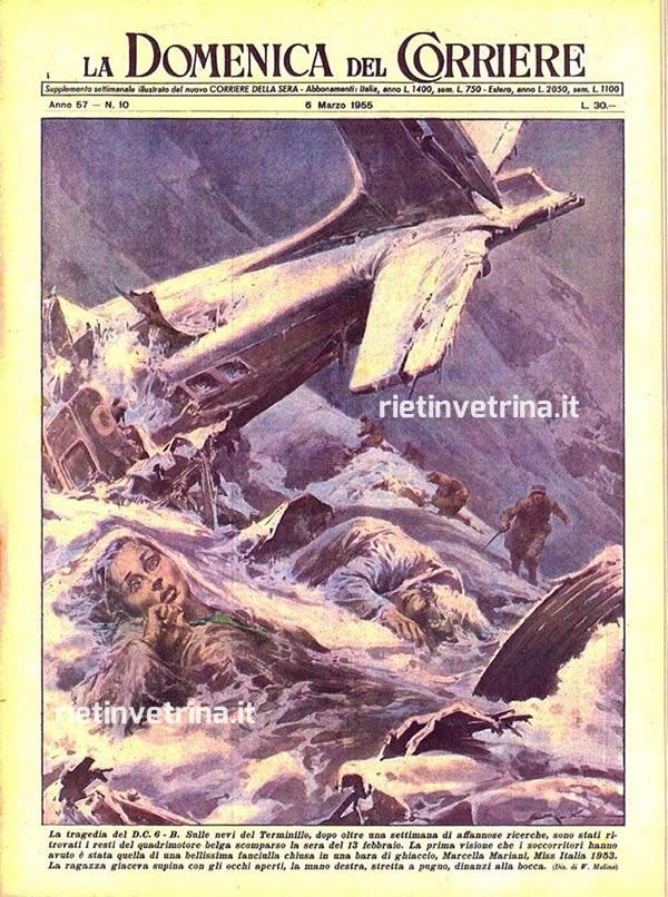 disastro_aereo_dc_6_sabena_terminillo_copertina_la_domenica_del_corriere_1