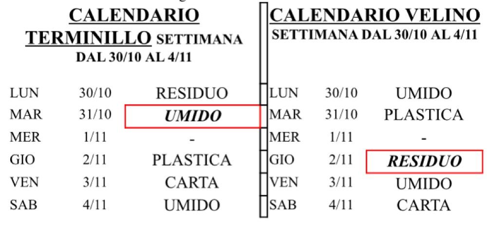 Calendario Raccolta Differenziata Rieti.Festivita Primo Novembre Modifiche Calendario Raccolta
